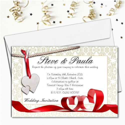 10 Personalised Heart Ribbons Wedding Invitations ~ Day or Evening N47